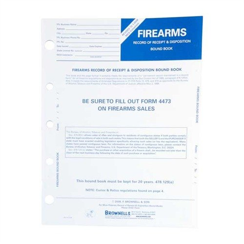 Firearms Record Book, pkg. 10
